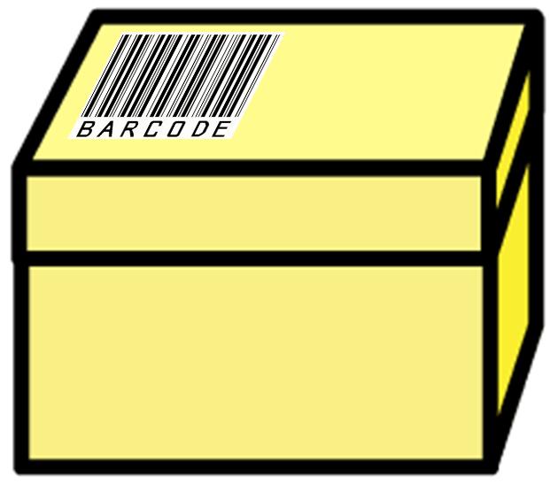 商品ラベルを貼った箱