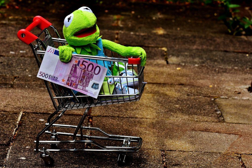 買い物をするカエル