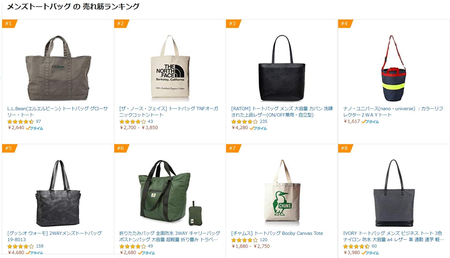 Amazonのメンズトートバッグランキング