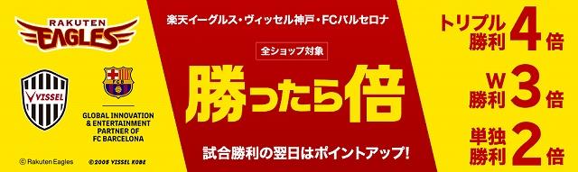 楽天イーグルス・ヴィッセル神戸・FCバルセロナ勝ったら倍キャンペーン